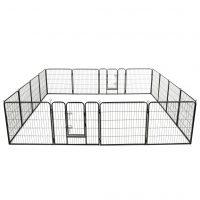 vidaXL Hundegrind 16 paneler stål 80x80 cm svart