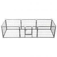 vidaXL Hundegrind 8 paneler stål 60x80 cm svart