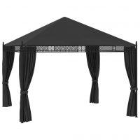 vidaXL Paviljong med gardiner 3,5x3,5x3,1 m antrasitt