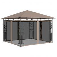 vidaXL Paviljong med myggnett 3x3x2,73 m gråbrun 180 g/m²