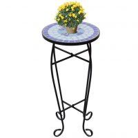 vidaXL Side-/plantebord mosaikk blå hvit