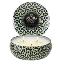 3- Wick Tin Candle 40 Timer - French Linen Duftlys