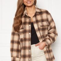 BUBBLEROOM Alice Check Shirt Jacket Beige / Brown / Checked L