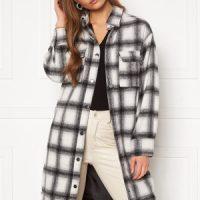 BUBBLEROOM Alice Long Check Shirt Jacket Black / White / Checked M