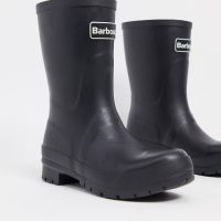 Barbour Banbury mid-cut wellington boots with logo detail in black