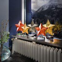 Bordlampe Stella i stjerneform, høyde 27 cm, gull