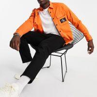Calvin Klein Jeans monogram badge overshirt in orange