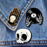 Gothic Halloween Skull Head Pins Skeleton Hand Palm Skeleton Disc Brooch Enamel Backpack Shirt Badge