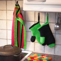 Hekleoppskrift Grytevott, kjøkkenhåndklær og bordskåner