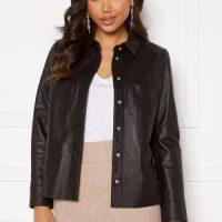 JOFAMA Anne Leather Shirt Jacket Black 34