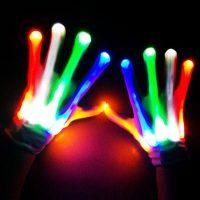 LED Gloves Costume Amazing Light Halloween Gloves Light Up Rave Gloves Skeleton