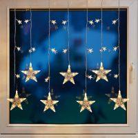 LED-vindusdekorasjon stjerneforheng
