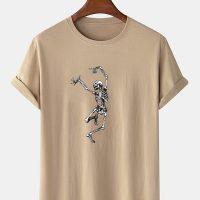 Mens 100% Cotton Halloween Skeleton Print O-Neck Casual Short Sleeve T-Shirts