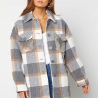 Pieces Selma Overshirt Jacket Whitecap Gray Checks M