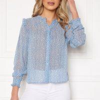 Rut & Circle Vivian Blouse Mid Blue/White Leo XL