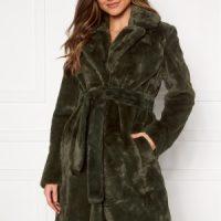 VILA Boda New Faux Fur Coat Forest Night 34