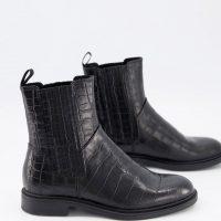 Vagabond Amina chelsea boots in black croc leather