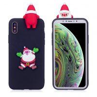 iPhone XS beskyttelses deksel av TPU med 3D jule dyr mønster - mørke blå bakgrunn med jule nisse