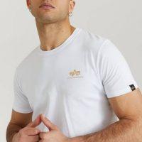 Alpha Industries T-shirt Basic T Small Logo Foil Print Hvit