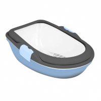 Blå/grå hygienisk kattedo i tre deler
