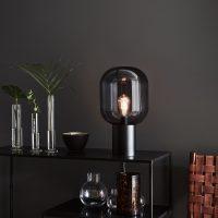 Bordlampe Brooklyn, glass-skjerm røykgrå, 44 cm