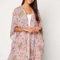 VILA Esa S/S Loose Sleeve Kimono Ecru AOP 38
