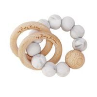 by Baby bubbles Make a Wish Rasle Og Teether Marble Grey/Wood 0 - 12 mnd
