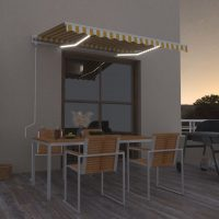 vidaXL Automatisk markise med LED og vindsensor 300x250 cm gul og hvit