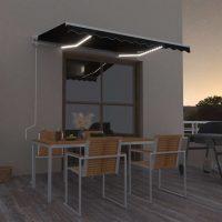 vidaXL Automatisk markise med LED og vindsensor 350x250 cm antrasitt