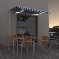 vidaXL Automatisk markise med LED og vindsensor 350x250 cm blå og hvit