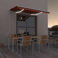 vidaXL Automatisk markise med LED og vindsensor 350x250cm oransje/brun