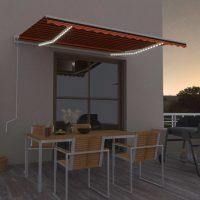 vidaXL Automatisk markise med vindsensor og LED 400x300cm oransje/brun