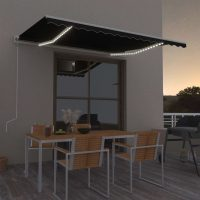 vidaXL Automatisk markise med vindsensor og LED 400x350 cm antrasitt