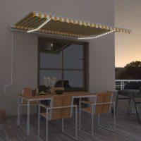 vidaXL Automatisk markise med vindsensor og LED 400x350 cm gul/hvit