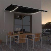 vidaXL Automatisk markise med vindsensor og LED 450x300 cm antrasitt