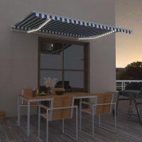 vidaXL Automatisk markise med vindsensor og LED 450x300 cm blå og hvit