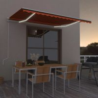vidaXL Automatisk markise med vindsensor og LED 450x300cm oransje/brun