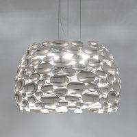 Nikkelfarget LED-pendellampe Anish – Ø 44 cm