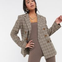 & Other Stories check double breasted blazer in beige-Grey