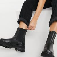 & Other Stories leather chunky square toe boots in black