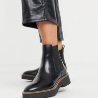 & Other Stories leather crepe sole heeled chelsea boots in black