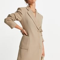& Other Stories recycled tailored blazer mini dress in camel-Neutral