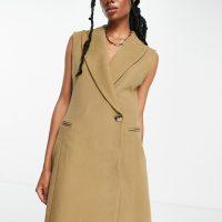 & Other Stories sleeveless blazer dress in beige-Neutral