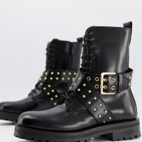 & Other Stories leather cross strap stud detail chunky flat boots in black