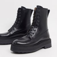 & Other Stories leather lace up chunky flat boots in black